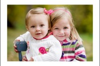 Sweet sister hug during a portrait.