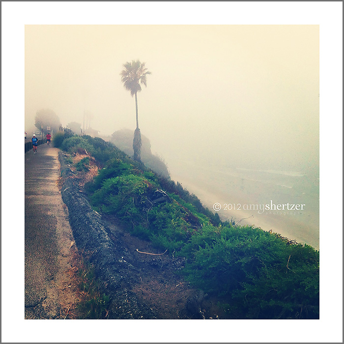 Encinitas Beach in the fog on Leg 27 of the Ragnar SoCal relay.