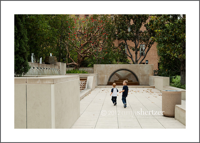 A pretty courtyard lined with trees at the Los Angeles Central Library in downtown L.A.