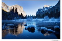 View of El Capitan and the Merced River in Yosemite National Park during the winter.