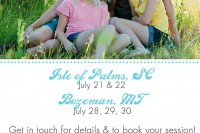 2013 Summer photo sessions in Bozeman Montana and Charleston South Carolina.