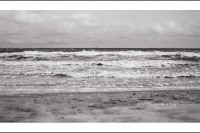 A black and white image of waves rolling onto the beach.